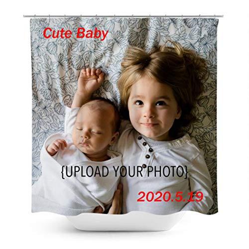 Personalisierte Foto Ihr Bild Duschvorhang, Machen Sie Ihre Eigene Private Benutzerdefinierte Fotodekoration Gravieren Sie Ihr Gedächtnis 66x79inch
