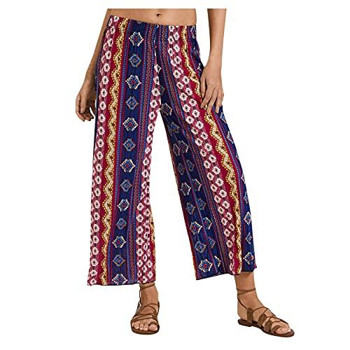 IPUKOTE Femme Pantalon Ample Nouveau Mode Coton Chanvre Confortable Jogging Plage Grande Taille Haute Pants Taille Elastique