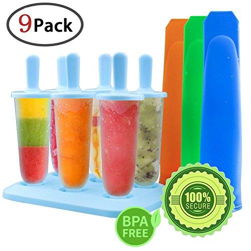 Gemoor Stieleisformer Set Silikon BPA Frei EIS Formen - 6 Stück EIS am Stiel und 3 Stück Eislutscher Formen für Kinder und Erwachsene (Blau)