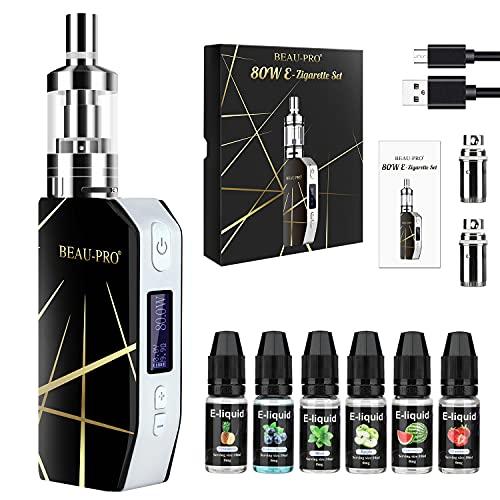 Cigarrillo Electronico de Vapor sin Nicotina Vaper Kit Cigarro Electronico Vaporizador kit completo-80W/2000mAh Batería con 6x10ml de E-líquido, 3m Tanque de Evaporadorl, 0.5Ohm Núcleo de Atomización