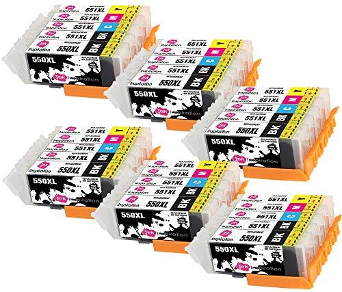 INK INSPIRATION Reemplazo para Canon PGI-550XL CLI-551XL Multipack 30 Cartuchos de Tinta Compatible con Canon Pixma iP7250 MX925 MG6350 MG5450 MG5550 MG5650 MG6450 MG6650 MG7150 MG7750 iX6850 iP8750