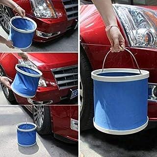 Folding bucket car wash bucket portable fishing bucket wash bucket retractable canvas supplies Blue