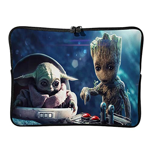 Baby Groot and Laptop Durable Water Resistant Big Capacity Zipper Multi-Color 10-17 Zoll for Teen White 13 Zoll