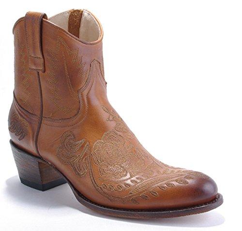 Sendra Damen Cowboy Stiefel Kurzstiefel braun Bestickt - individuell und ausgefallen (39)