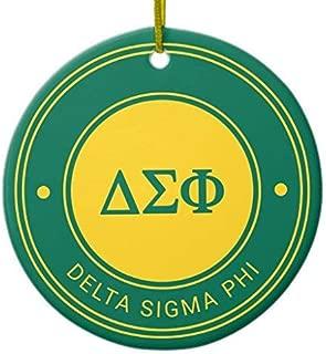 FashionShine Delta Sigma Phi   Badge Christmas Ornament Ceramic 3 inch