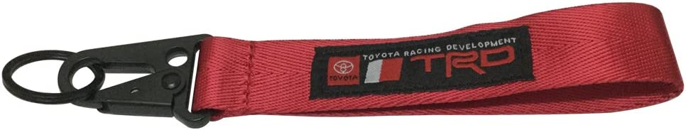 1pcs Red TRD Keychain Rope Strap Weave Keyring