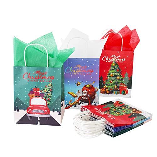 15PCS Geschenktüten Weihnachten Natürlich Kraft Dekorationen Party Supplies Pack in 3 Styles für die Weihnachtsfeier