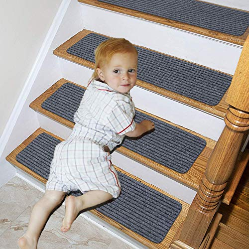 "Lmeison Stair Treads Carpet 15 Pack, Non Slid Carpet Indoor Stair Runners for Wooden Steps, Safety Slip Resistant Stair Rugs for Kids, Elders and Dogs, 8"" X 30"", Grey"