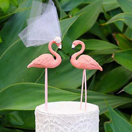 """Flamingo Love Bird Cake Topper:""""Bride and Groom"""" Wedding Cake Topper in Coral Pink"""