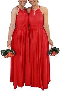 Jonlyc A-Line Halter Sleeveless Chiffon Long Bridesmaid Dresses