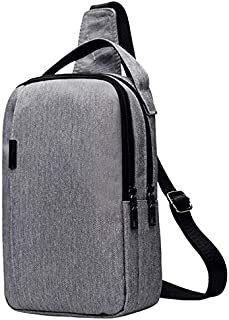 SODIAL Nylon Chest Bag Men'S Bag Messenger Bag Multi-Function Messenger Fashion Outdoor Chest Bag Light Grey