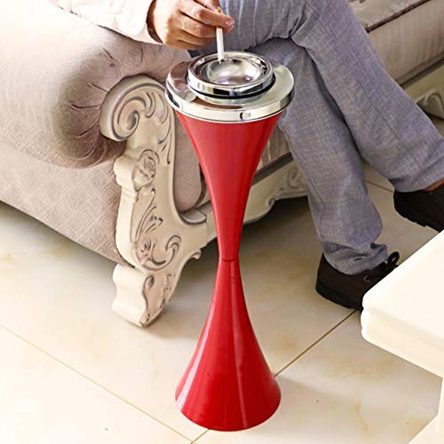 BEAMNOVA Floor Ashtray For Cigarettes Outdoor Indoor Hinged Lid Cigar Ashtray Stand Self-Cleaning Red