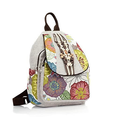 MIMITU Mochilas de lona para mujer bordadas con flores hechas a mano, mochilas de estilo retro gris de Tailandia, mochila pequeña para mujer vegana, gris