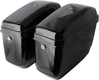 Motorcycle Hard Saddlebags Saddle Bags for Honda Shadow Kawasaki Vulcan Yamaha Sportster with Mounting Kits