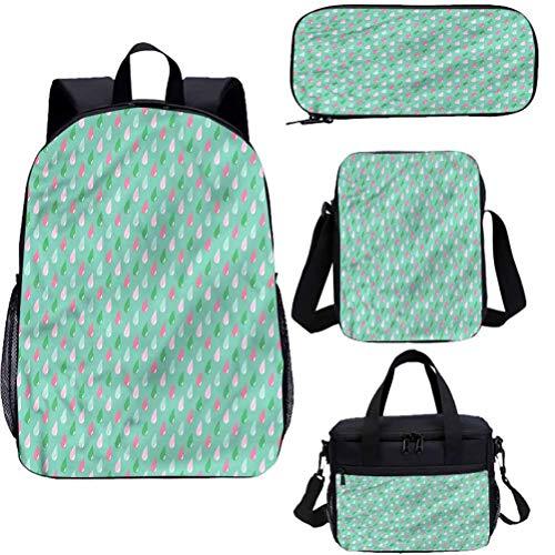 Mochila para niños de 17 pulgadas con bolsa de almuerzo conjunto de estuche, gotas de lluvia retro arte 4 en 1 conjuntos de mochila