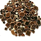 Colorful Mosaic Tiles-90 Pieces Pack of Assorted Stained Glass Ceramic Mosaic Tile Supplies for DIY Crafts,Plates,Picture Frames,Flowerpots,Handmade Jewelry-Square Round Ellipse Irregular Size(Coffee)