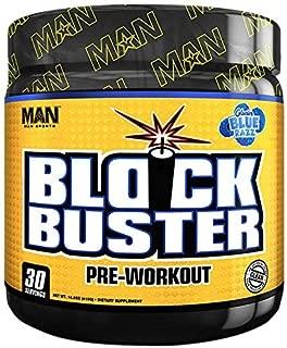 MAN Sports Blockbuster Pre-Workout Powder, Explosive Energy Formula, Glacier Blue Razz, 410 Gram