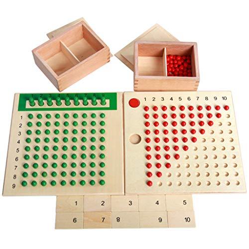 FLAMEER Mathe Lernspielzeug Montessori Mathematik Material Multiplikation Holzbrett