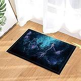 /N Fantasy Badteppiche Galaxy Starlight Rock-Göttin-Nymphe-Meerjungfrau in der Dunkelheit rutschfeste Fußmatte Bodeneingänge Indoor-Haustürmatte Kids Bath Mat 60X40CM