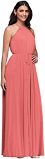 Bridesmaid Soft Mesh Halter Bridesmaid Dress with Slim Sash Style F19533