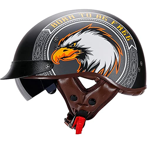 Medio Casco De Motocicleta, Medio Casco De Motocicleta, Cascos De Cara Abierta Vintage con Gafas De Liberación Rápida, Adecuado para Montar Al Aire Libre Aprobado por ECE J,L(59-60cm)