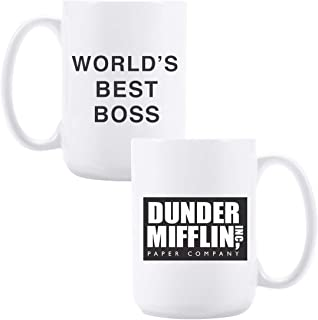 15oz Ceramic Coffee Mug with Dunder Mifflin, World's Best Boss Funny Coffee/Tea/Cocoa..