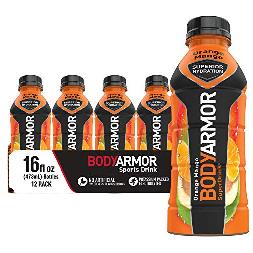 BODYARMOR Sports Drink Sports Beverage, Orange Mango, Natural Flavors With Vitamins, Potassium-Packed Electrolytes, No Preservatives, Perfect For Athletes, 16 Fl Oz (Pack of 12)