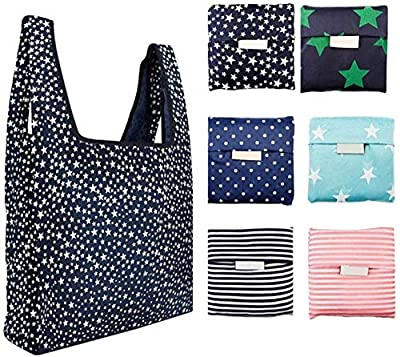 Reusable Shopping Foldable 6 Pack ? Reusable Grocery Bags Foldable, Washable Grocery Tote with Pouch, Heavy Duty Shopping Tote Bag, Eco-Friendly Purse Bag Fits in Pocket Waterproof & Lightweight