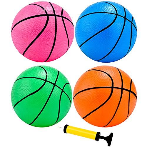 4 Pieces Mini Basketball Inflation Mini Ball with Pump and Basketball...