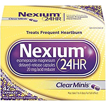 Nexium 24HR  42 Count ClearMinis  All-Day All-Night Protection from Frequent Heartburn Medicine with Esomeprazole Magnesium 20mg Acid Reducer 38% Smaller Capsule