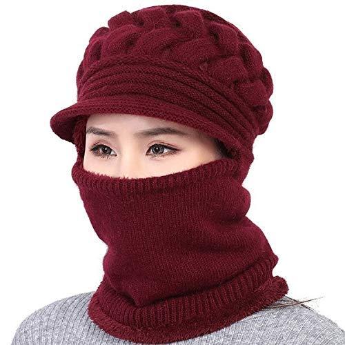 Malvina Women's & Girl's Soft Woolen Warm Snow Visor Cap Plus Muffler Scarf|Neckwarmer (Maroon,Free Size)-(Pack of 01)