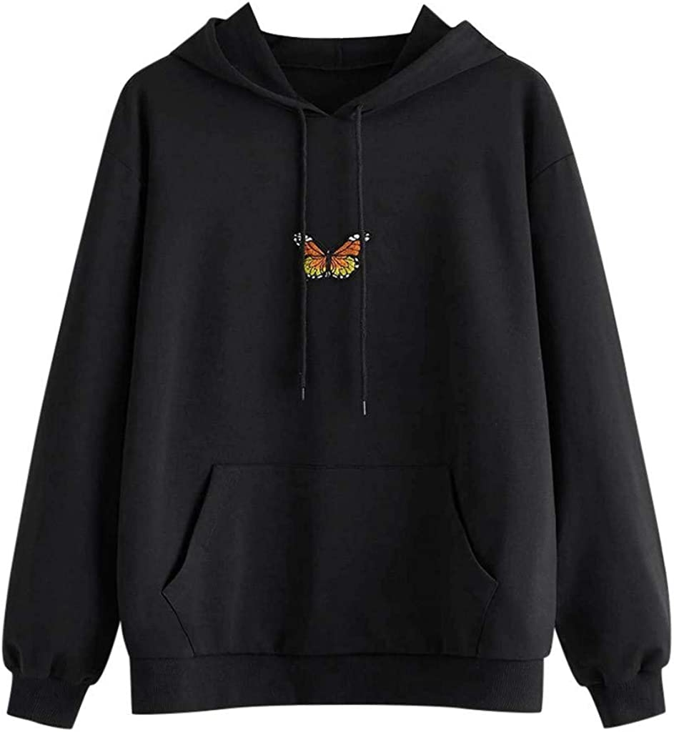 Toeava Women's Casual Butterfly Hooded Sweatshirts Long Sleeve Drawstring Pullover Tops Loose Comfy Pullover Blouse