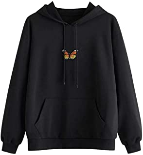 Women Hoodies Sweatshirt Coat, Ladies Butter-fly Printed Long Sleeve Pocket Pullover Outwear