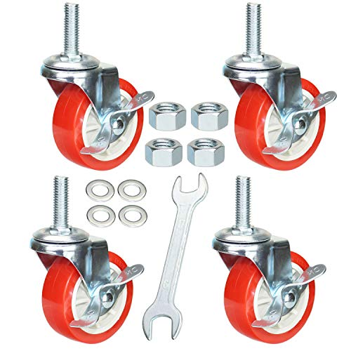 DICASAL 3 Inch American Size Threaded Stem Swivel Caster Wheels Heavy Duty Non Marking Red Rubber Durable Wheels Castors with Tread 1/2
