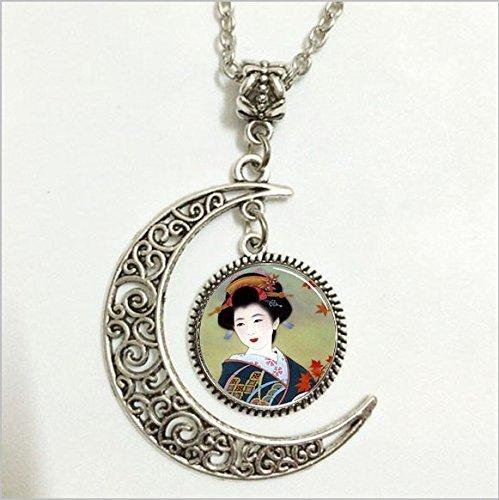 Japanischer Geisha-Anhänger, japanische Geisha-Halskette, japanischer Geisha-Mond-Schmuck, Mond-Halskette, Glaskunstbild