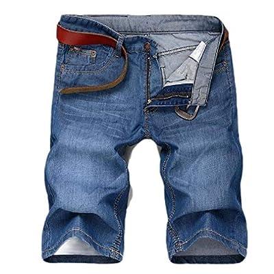 Men's Basic Zipper Straight Cowboy Regular Fit Jeans Biker Shorts