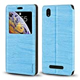 ZTE Blade X3 A452 Case, Wood Grain Leather Case with Card