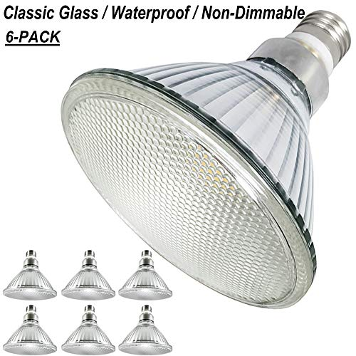 Indoor/Outdoor PAR38 Daylight(Cool White)LED Flood Lights,Full Glass,Waterproof,E26 PAR38 LED Bulb Bright White Light 5000K,18.5W=90W-120W Traditional Lamp Equivalent,120V