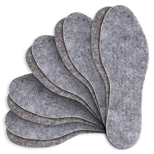 MAROL Filz Einlegesohlen Warm Filzsohlen extra dicke 6 mm Schuheinlagen / 5 Paare/Große 36-46, Grau, 43