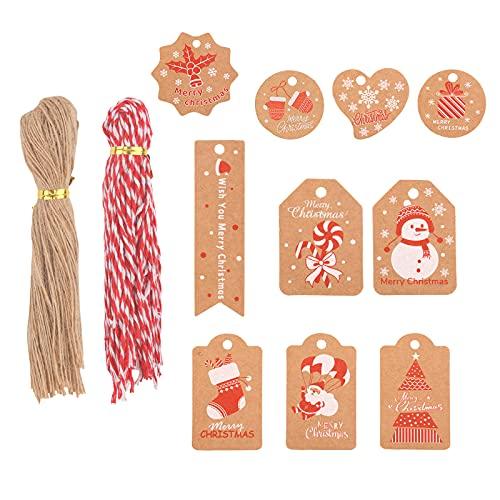 KINBOM 200 Piezas Etiquetas Regalo de Navidad de Papel Kraft Etiquetas de Navidad Árboles de Navidad Etiquetas Colgantes Copos de Nieve Papá Noel para Decoración de Fiestas de Navidad (10 Patrones)