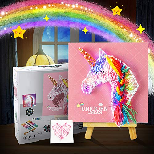 String Art Kit with LED Light for Kids, Unicorn Light Up Decoration, DIY Handmade Festival Home Decorations Ornaments, Creative Unicorn Craft Kits Games Activity Gift for Age 8 9 10 11 12+ Girls Boys