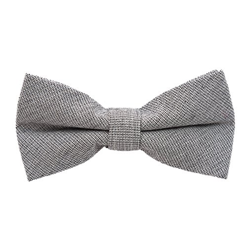DonDon Herren Fliege 12 x 6 cm Baumwolle gebunden und längenverstellbar grau mit schwarzen Punkten