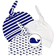 Newborn Hats for Boys Soft 100% Organic Cotton Baby Whale Infant Beanie Hospital Caps (3-Pack) (0-3M, Navy Blue, White)