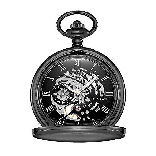 Reloj De Bolsillo Unisex Cuerda Manual De Bolsillo Mecánico Retro Perspectiva Inferior Cubierta del Reloj Conveniente para La Ocasión Informal
