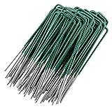 GardenMate 100x Piquets en Acier galvanisé à Chaud pour Gazon synthétique - Hauteur 15 cm * Largeur 2,5cm * Acier 2,9mm - Tête Plate - Vert et Acier