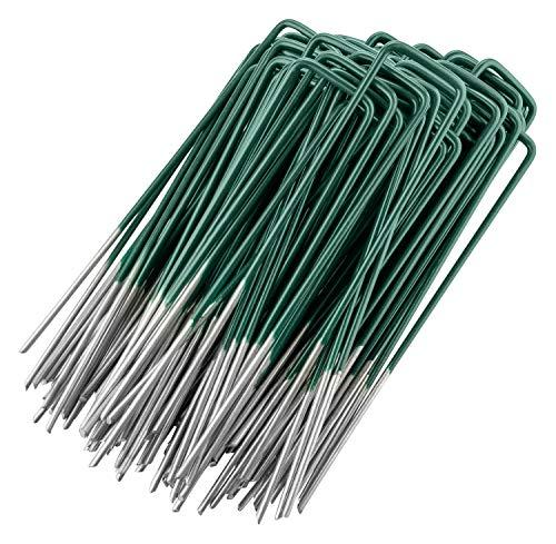 GardenMate 50 Kunstrasen-Erdanker Halb-Grün Feuerverzinkt aus Stahldraht 150mm lang - 25mm breit aus Stahldraht Stärke 2,9mm - Flacher Kopf