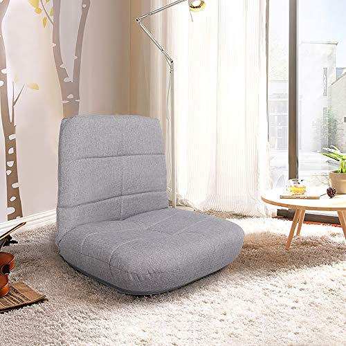 Crestlive Products Easy Lounge, Adjustable Padded Floor Chair with Back Support, Comfortable Folding Chair with Backrest for Home and Office, Floor Pillow for Meditation or as Gaming Chair (Gray)