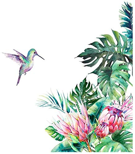 Pegatinas De Pared Diy Playa Tropical Hojas De Palmera Pegatinas Moderno Extraíble Impermeable Verde Vegetación Tropical Pájaro Decoración De La Pared Del Hogar 68.7X60Cm