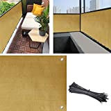 Balcony Privacy Screen Cover, 3.5ft x10ft Fence Screen Balcony Shield Cover UV-Resistant Visibility Reduction Windscreen Garden Fence with Cable Ties (3x16.4ft, Beige)