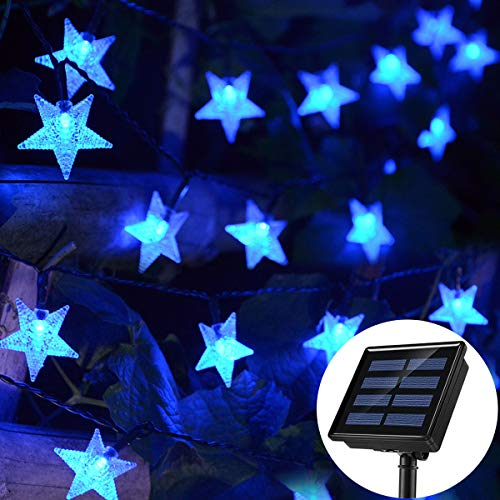 Chasgo Solar Powered String Lights, 30FT 50 LED Blue Star Solar Lights Outdoor Waterproof, Decorative Solar String Lights for Christmas Party Wedding Garden Yard Patio Lawn Wall Decor